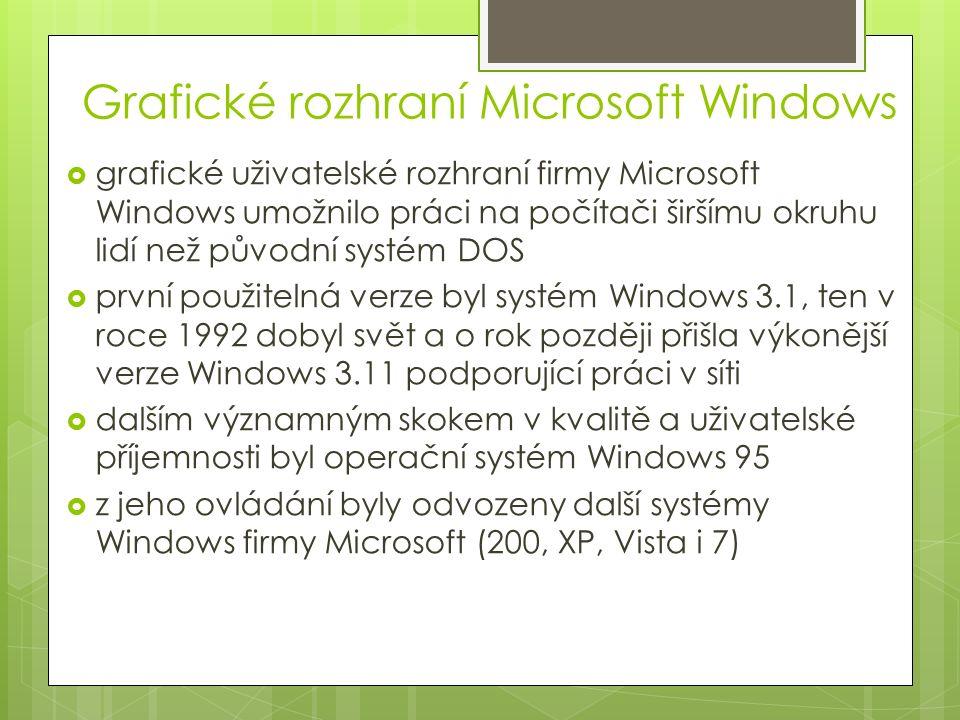 Grafické rozhraní Microsoft Windows  grafické uživatelské rozhraní firmy Microsoft Windows umožnilo práci na počítači širšímu okruhu lidí než původní systém DOS  první použitelná verze byl systém Windows 3.1, ten v roce 1992 dobyl svět a o rok později přišla výkonější verze Windows 3.11 podporující práci v síti  dalším významným skokem v kvalitě a uživatelské příjemnosti byl operační systém Windows 95  z jeho ovládání byly odvozeny další systémy Windows firmy Microsoft (200, XP, Vista i 7)