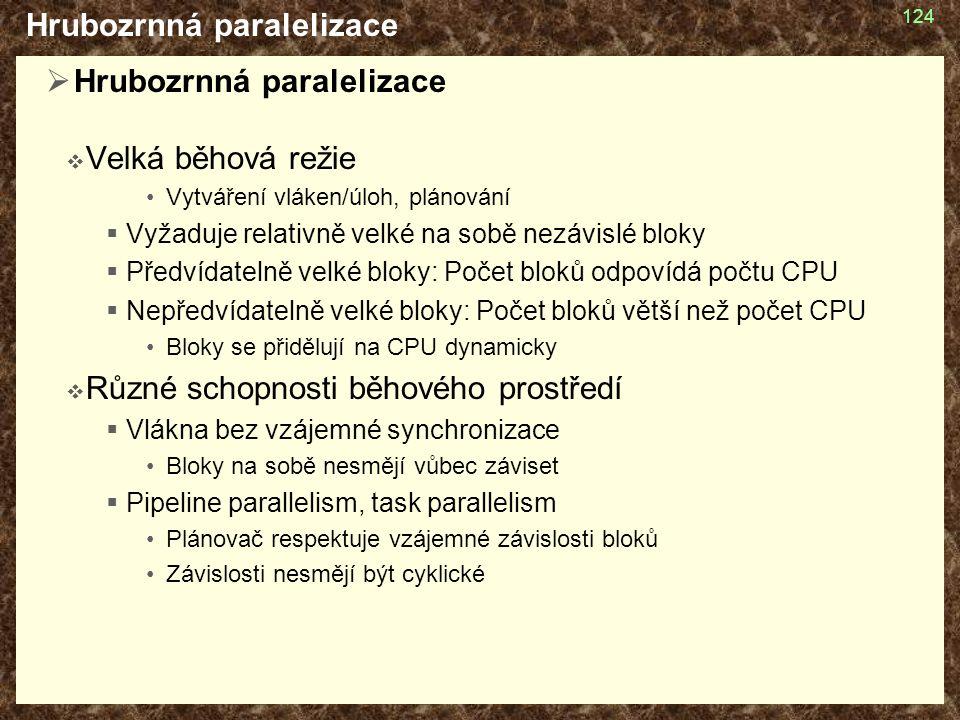 Hrubozrnná paralelizace  Hrubozrnná paralelizace  Velká běhová režie Vytváření vláken/úloh, plánování  Vyžaduje relativně velké na sobě nezávislé bloky  Předvídatelně velké bloky: Počet bloků odpovídá počtu CPU  Nepředvídatelně velké bloky: Počet bloků větší než počet CPU Bloky se přidělují na CPU dynamicky  Různé schopnosti běhového prostředí  Vlákna bez vzájemné synchronizace Bloky na sobě nesmějí vůbec záviset  Pipeline parallelism, task parallelism Plánovač respektuje vzájemné závislosti bloků Závislosti nesmějí být cyklické 124