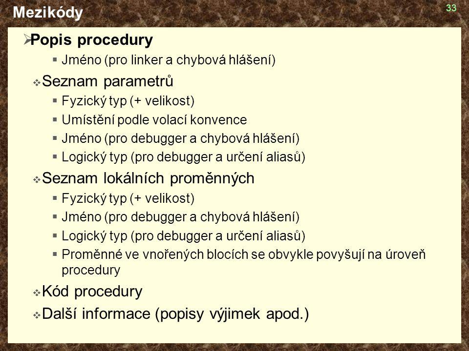 33 Mezikódy  Popis procedury  Jméno (pro linker a chybová hlášení)  Seznam parametrů  Fyzický typ (+ velikost)  Umístění podle volací konvence  Jméno (pro debugger a chybová hlášení)  Logický typ (pro debugger a určení aliasů)  Seznam lokálních proměnných  Fyzický typ (+ velikost)  Jméno (pro debugger a chybová hlášení)  Logický typ (pro debugger a určení aliasů)  Proměnné ve vnořených blocích se obvykle povyšují na úroveň procedury  Kód procedury  Další informace (popisy výjimek apod.)