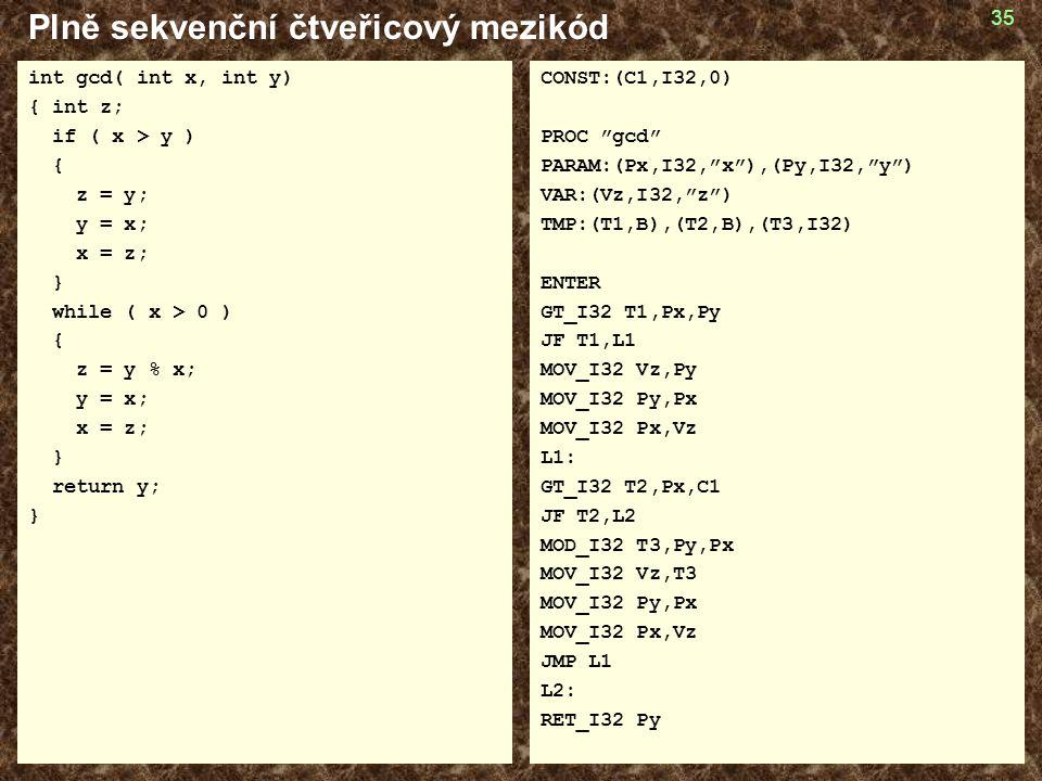 35 Plně sekvenční čtveřicový mezikód int gcd( int x, int y) { int z; if ( x > y ) { z = y; y = x; x = z; } while ( x > 0 ) { z = y % x; y = x; x = z; } return y; } CONST:(C1,I32,0) PROC gcd PARAM:(Px,I32, x ),(Py,I32, y ) VAR:(Vz,I32, z ) TMP:(T1,B),(T2,B),(T3,I32) ENTER GT_I32 T1,Px,Py JF T1,L1 MOV_I32 Vz,Py MOV_I32 Py,Px MOV_I32 Px,Vz L1: GT_I32 T2,Px,C1 JF T2,L2 MOD_I32 T3,Py,Px MOV_I32 Vz,T3 MOV_I32 Py,Px MOV_I32 Px,Vz JMP L1 L2: RET_I32 Py