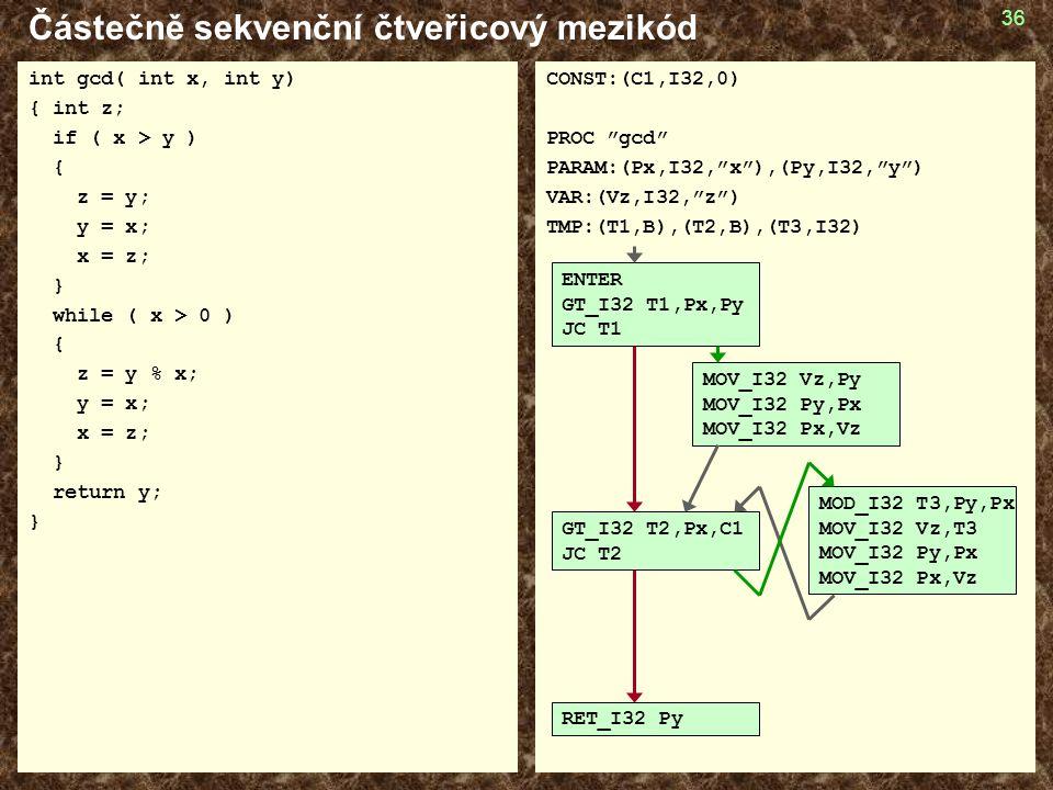 36 Částečně sekvenční čtveřicový mezikód int gcd( int x, int y) { int z; if ( x > y ) { z = y; y = x; x = z; } while ( x > 0 ) { z = y % x; y = x; x = z; } return y; } CONST:(C1,I32,0) PROC gcd PARAM:(Px,I32, x ),(Py,I32, y ) VAR:(Vz,I32, z ) TMP:(T1,B),(T2,B),(T3,I32) ENTER GT_I32 T1,Px,Py JC T1 GT_I32 T2,Px,C1 JC T2 RET_I32 Py MOV_I32 Vz,Py MOV_I32 Py,Px MOV_I32 Px,Vz MOD_I32 T3,Py,Px MOV_I32 Vz,T3 MOV_I32 Py,Px MOV_I32 Px,Vz