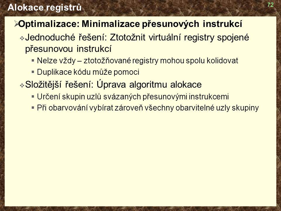 72 Alokace registrů  Optimalizace: Minimalizace přesunových instrukcí  Jednoduché řešení: Ztotožnit virtuální registry spojené přesunovou instrukcí  Nelze vždy – ztotožňované registry mohou spolu kolidovat  Duplikace kódu může pomoci  Složitější řešení: Úprava algoritmu alokace  Určení skupin uzlů svázaných přesunovými instrukcemi  Při obarvování vybírat zároveň všechny obarvitelné uzly skupiny