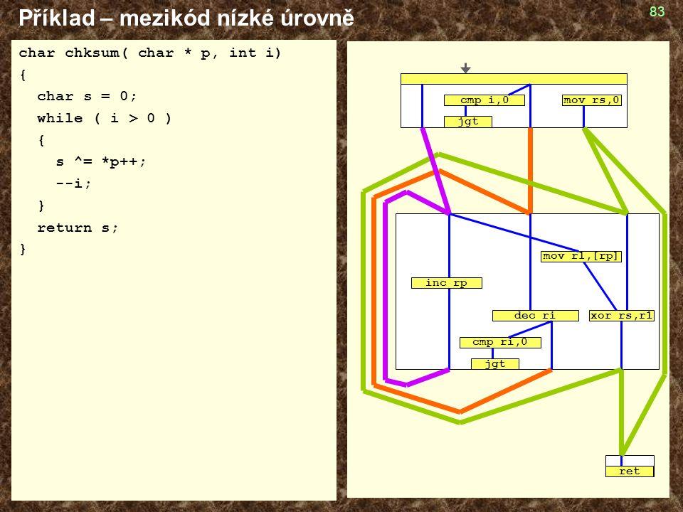 83 Příklad – mezikód nízké úrovně char chksum( char * p, int i) { char s = 0; while ( i > 0 ) { s ^= *p++; --i; } return s; } cmp ri,0 jgt mov r1,[rp] ret cmp i,0 jgt mov rs,0 inc rp dec rixor rs,r1