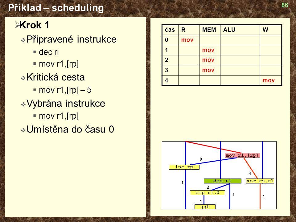 86  Krok 1  Připravené instrukce  dec ri  mov r1,[rp]  Kritická cesta  mov r1,[rp] – 5  Vybrána instrukce  mov r1,[rp]  Umístěna do času 0 Příklad – scheduling časRMEMALUW 0mov 1 2 3 4 cmp ri,0 jgt mov r1,[rp] inc rp dec rixor rs,r1 4 2 1 1 1 1 0