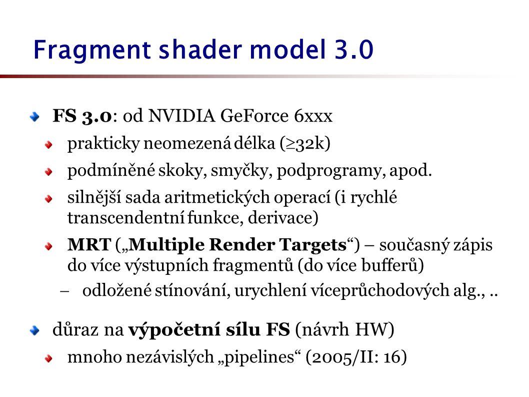 Fragment shader model 3.0 FS 3.0: od NVIDIA GeForce 6xxx prakticky neomezená délka (  32k) podmíněné skoky, smyčky, podprogramy, apod.