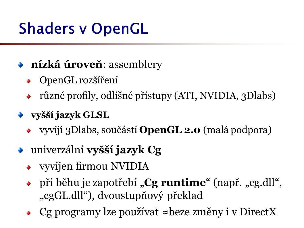 """nízká úroveň: assemblery OpenGL rozšíření různé profily, odlišné přístupy (ATI, NVIDIA, 3Dlabs) vyšší jazyk GLSL vyvíjí 3Dlabs, součástí OpenGL 2.0 (malá podpora) univerzální vyšší jazyk Cg vyvíjen firmou NVIDIA při běhu je zapotřebí """"Cg runtime (např."""
