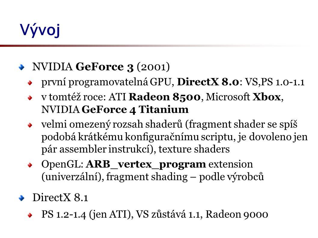 Vývoj NVIDIA GeForce 3 (2001) první programovatelná GPU, DirectX 8.0: VS,PS 1.0-1.1 v tomtéž roce: ATI Radeon 8500, Microsoft Xbox, NVIDIA GeForce 4 Titanium velmi omezený rozsah shaderů (fragment shader se spíš podobá krátkému konfiguračnímu scriptu, je dovoleno jen pár assembler instrukcí), texture shaders OpenGL: ARB_vertex_program extension (univerzální), fragment shading – podle výrobců DirectX 8.1 PS 1.2-1.4 (jen ATI), VS zůstává 1.1, Radeon 9000