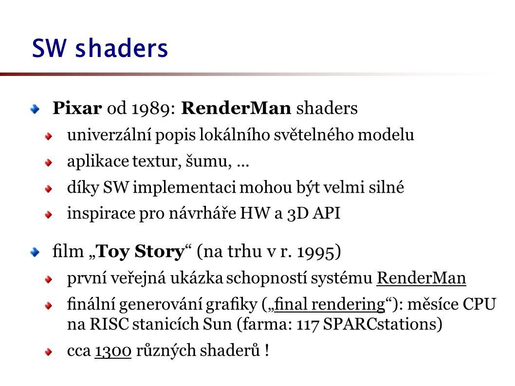 SW shaders Pixar od 1989: RenderMan shaders univerzální popis lokálního světelného modelu aplikace textur, šumu,...