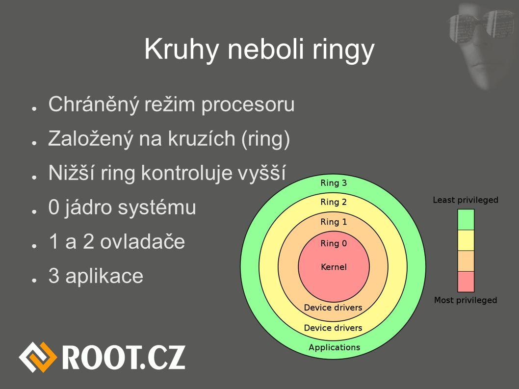 Kruhy neboli ringy ● Chráněný režim procesoru ● Založený na kruzích (ring) ● Nižší ring kontroluje vyšší ● 0 jádro systému ● 1 a 2 ovladače ● 3 aplikace