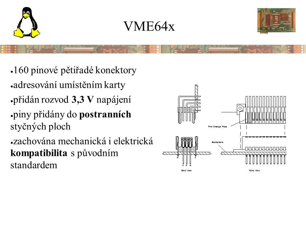 VME64x ● 160 pinové pětiřadé konektory ● adresování umístěním karty ● přidán rozvod 3,3 V napájení ● piny přidány do postranních styčných ploch ● zachována mechanická i elektrická kompatibilita s původním standardem