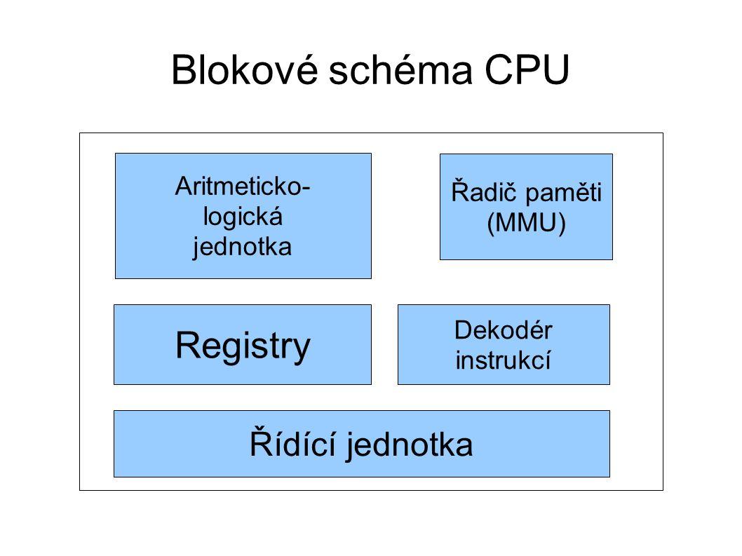 Blokové schéma CPU Aritmeticko- logická jednotka Registry Řídící jednotka Řadič paměti (MMU) Dekodér instrukcí