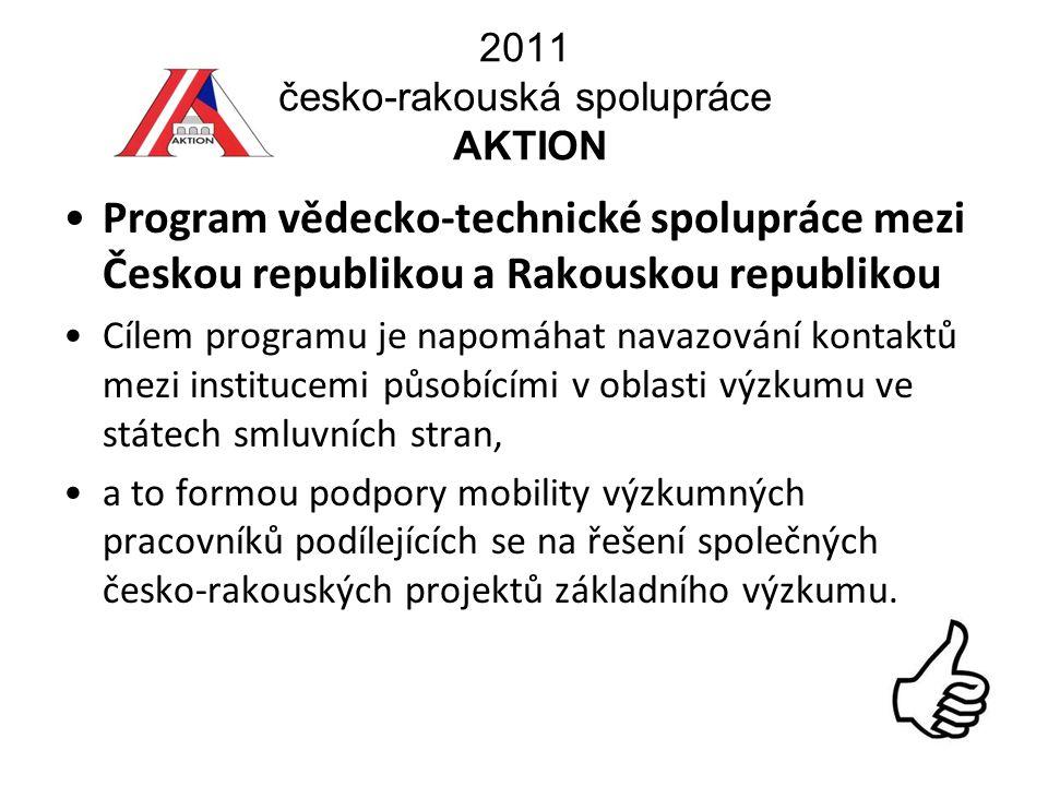 2011 česko-rakouská spolupráce AKTION Program vědecko-technické spolupráce mezi Českou republikou a Rakouskou republikou Cílem programu je napomáhat navazování kontaktů mezi institucemi působícími v oblasti výzkumu ve státech smluvních stran, a to formou podpory mobility výzkumných pracovníků podílejících se na řešení společných česko-rakouských projektů základního výzkumu.