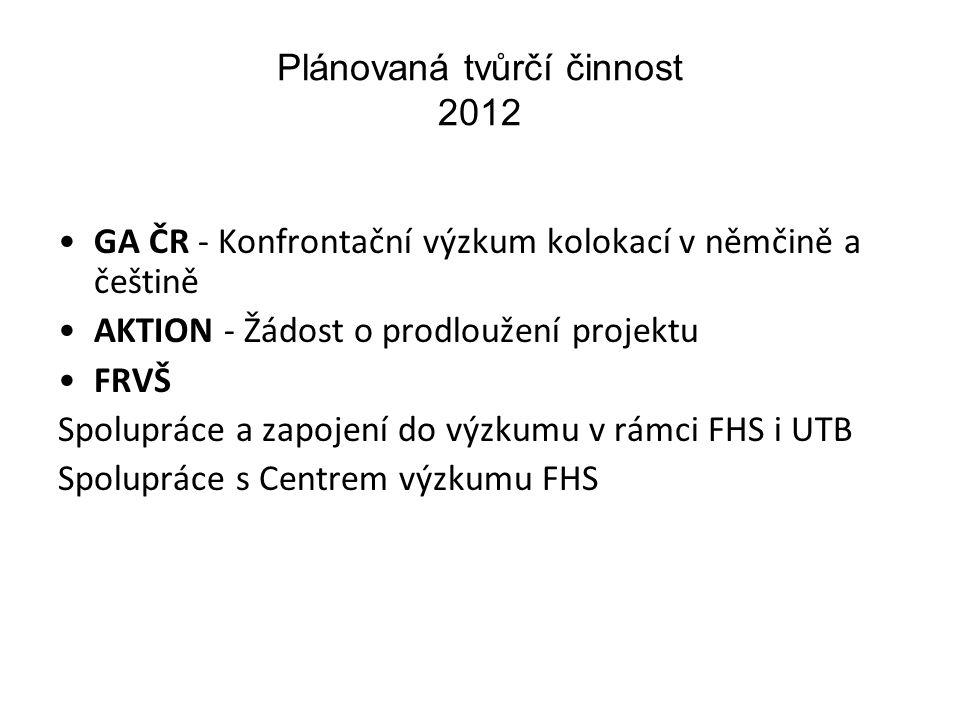 Plánovaná tvůrčí činnost 2012 GA ČR - Konfrontační výzkum kolokací v němčině a češtině AKTION - Žádost o prodloužení projektu FRVŠ Spolupráce a zapojení do výzkumu v rámci FHS i UTB Spolupráce s Centrem výzkumu FHS