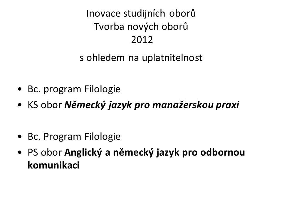 Inovace studijních oborů Tvorba nových oborů 2012 s ohledem na uplatnitelnost Bc.