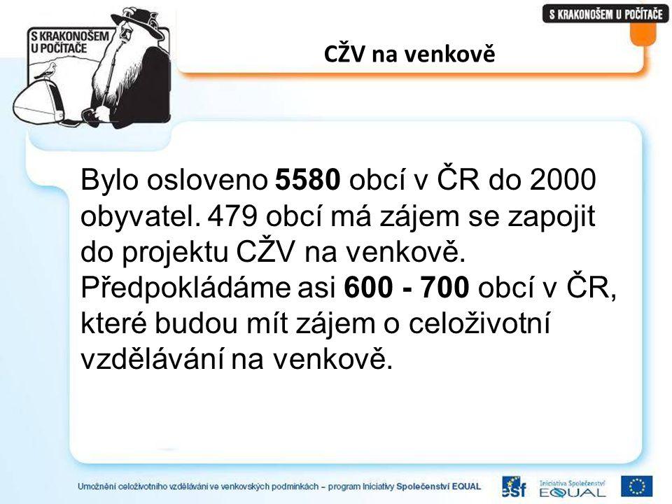 CŽV na venkově Bylo osloveno 5580 obcí v ČR do 2000 obyvatel. 479 obcí má zájem se zapojit do projektu CŽV na venkově. Předpokládáme asi 600 - 700 obc