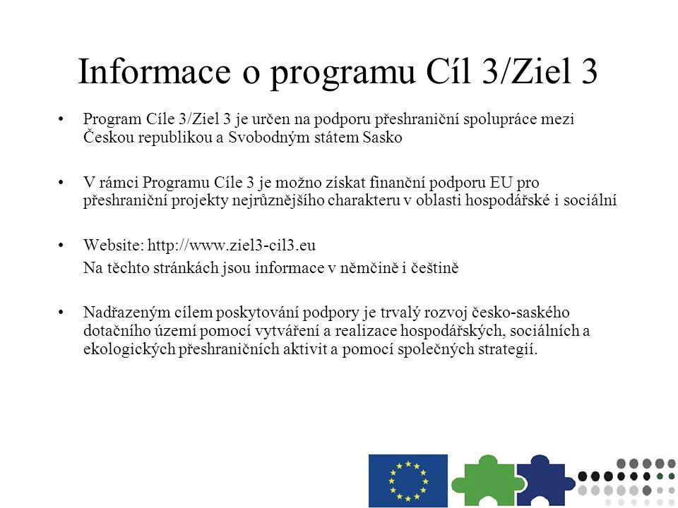 Informace o programu Cíl 3/Ziel 3 Program Cíle 3/Ziel 3 je určen na podporu přeshraniční spolupráce mezi Českou republikou a Svobodným státem Sasko V