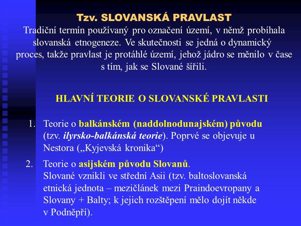 Tzv. SLOVANSKÁ PRAVLAST Tradiční termín používaný pro označení území, v němž probíhala slovanská etnogeneze. Ve skutečnosti se jedná o dynamický proce