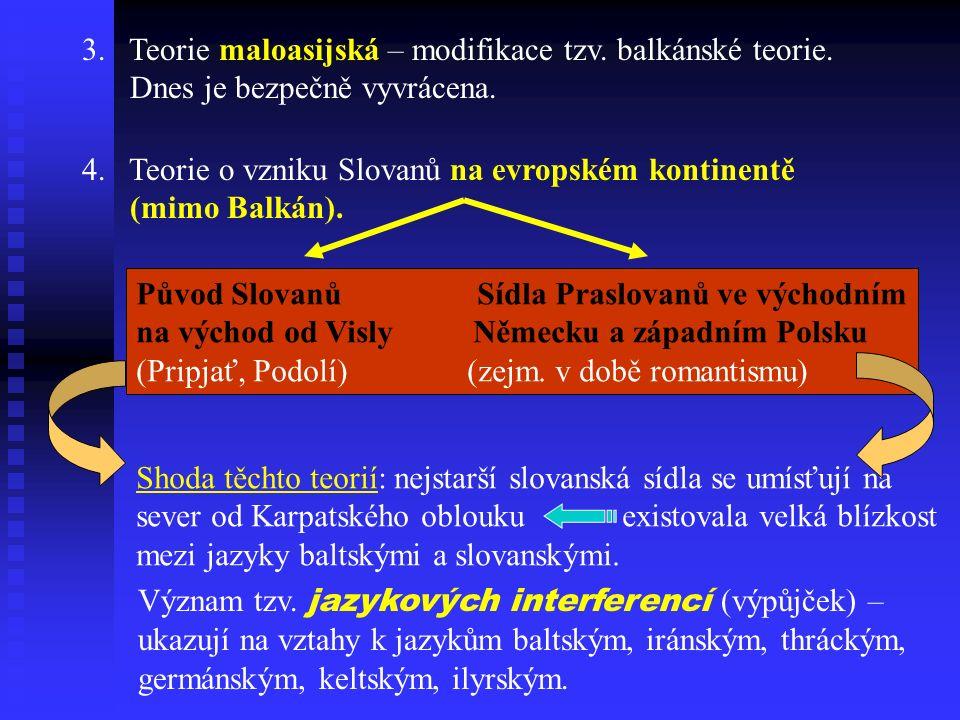 3. Teorie maloasijská – modifikace tzv. balkánské teorie.