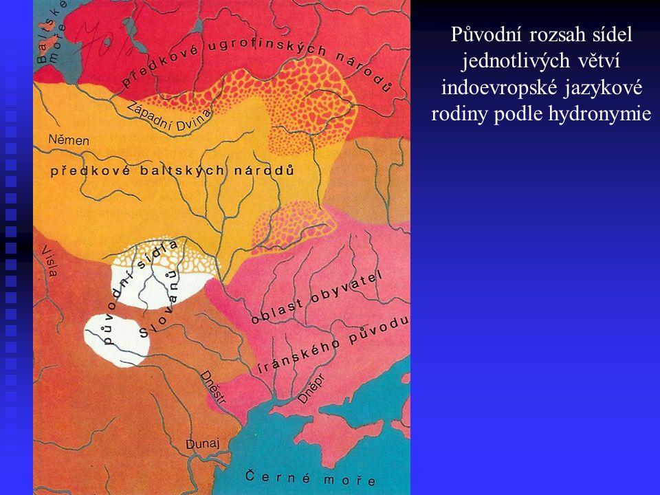 Původní rozsah sídel jednotlivých větví indoevropské jazykové rodiny podle hydronymie