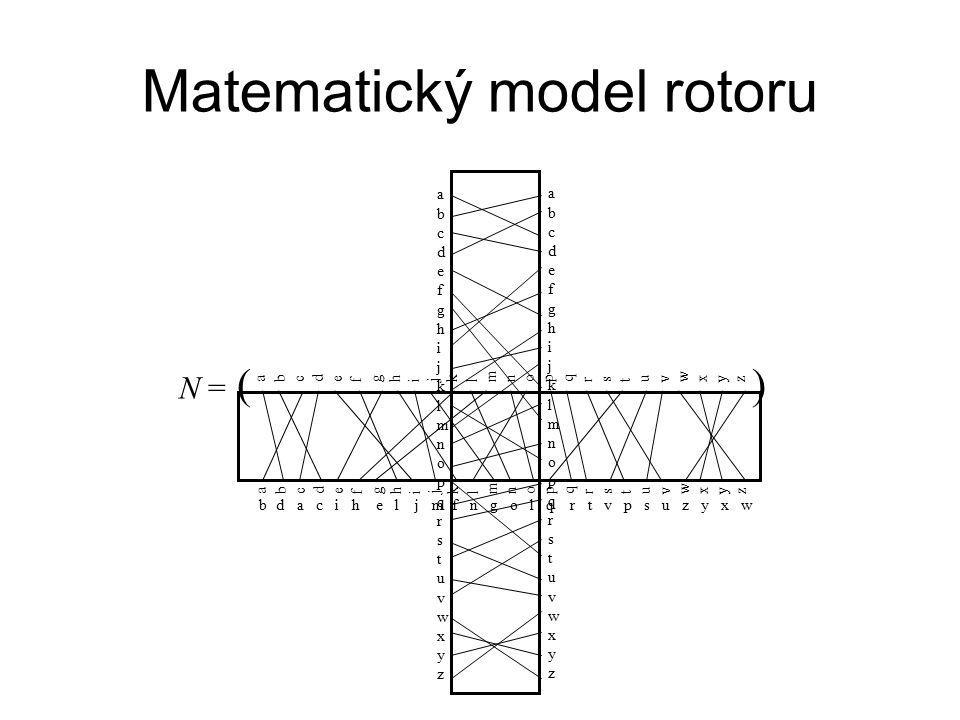 abcdefghijklmnopqrstuvwxyzabcdefghijklmnopqrstuvwxyz abcdefghijklmnopqrstuvwxyzabcdefghijklmnopqrstuvwxyz Matematický model rotoru a b c d e f g h i j k l m n o p q r s t u v w x y z a b c d e f g h i j k l m n o p q r s t u v w x y z bd a c i h e l j m f n g o l q r t v p s u z y x w N = ( )