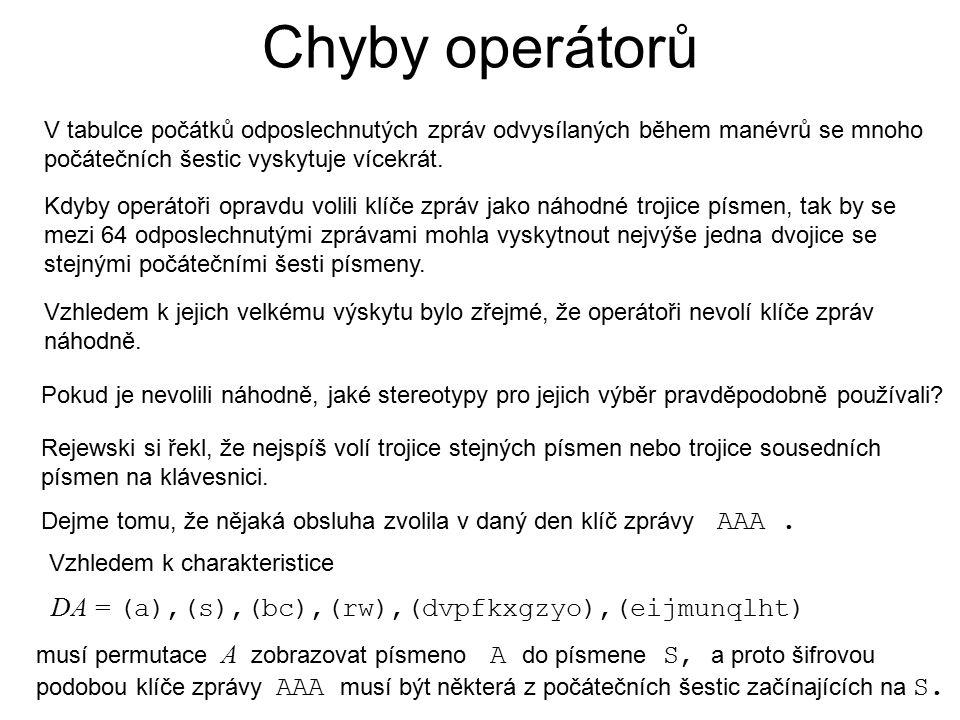 Chyby operátorů V tabulce počátků odposlechnutých zpráv odvysílaných během manévrů se mnoho počátečních šestic vyskytuje vícekrát.