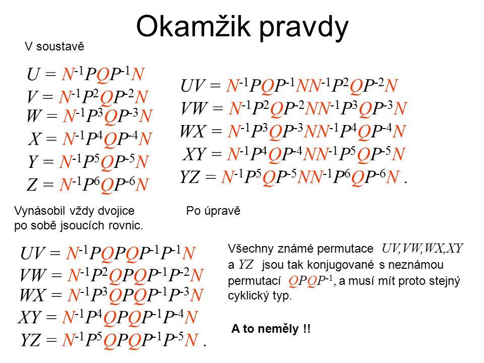 Okamžik pravdy V soustavě U = N -1 PQP -1 N V = N -1 P 2 QP -2 N W = N -1 P 3 QP -3 N X = N -1 P 4 QP -4 N Y = N -1 P 5 QP -5 N Z = N -1 P 6 QP -6 N Vynásobil vždy dvojice po sobě jsoucích rovnic.