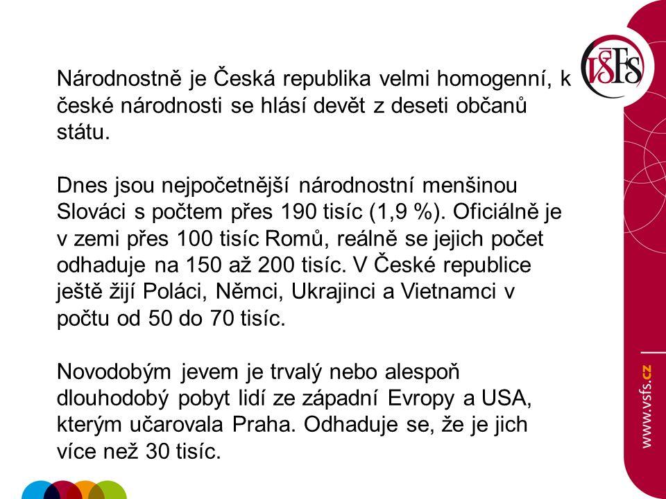 Národnostně je Česká republika velmi homogenní, k české národnosti se hlásí devět z deseti občanů státu. Dnes jsou nejpočetnější národnostní menšinou