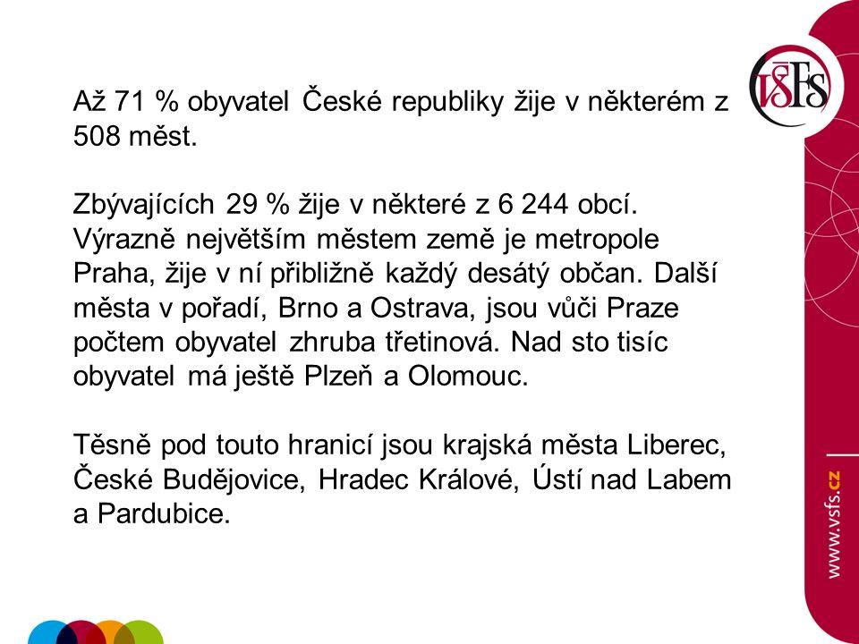 Až 71 % obyvatel České republiky žije v některém z 508 měst. Zbývajících 29 % žije v některé z 6 244 obcí. Výrazně největším městem země je metropole