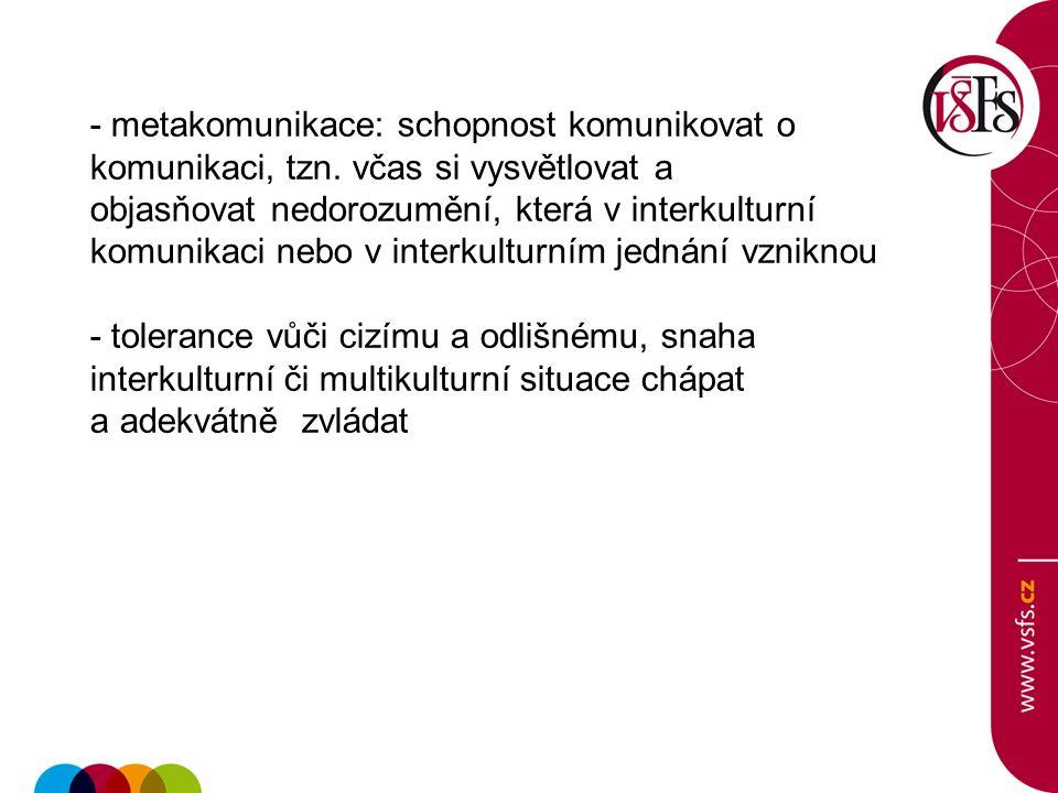 - metakomunikace: schopnost komunikovat o komunikaci, tzn.