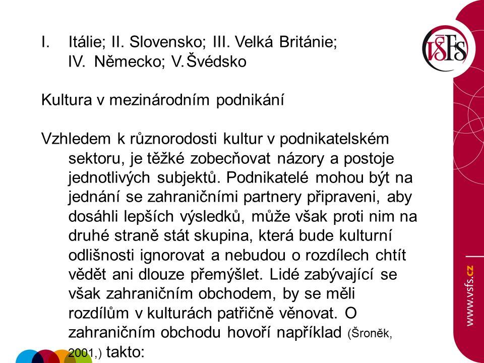 I.Itálie; II. Slovensko; III. Velká Británie; IV. Německo; V.Švédsko Kultura v mezinárodním podnikání Vzhledem k různorodosti kultur v podnikatelském