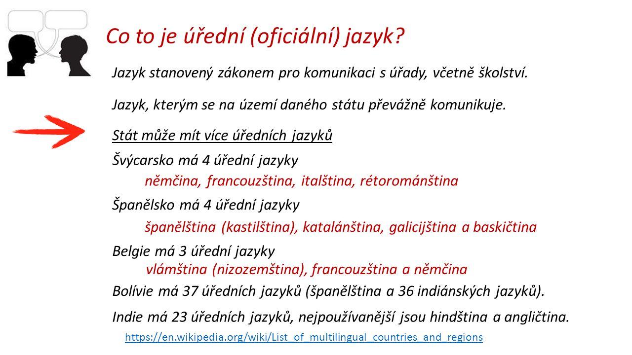 Co to je úřední (oficiální) jazyk. Jazyk stanovený zákonem pro komunikaci s úřady, včetně školství.