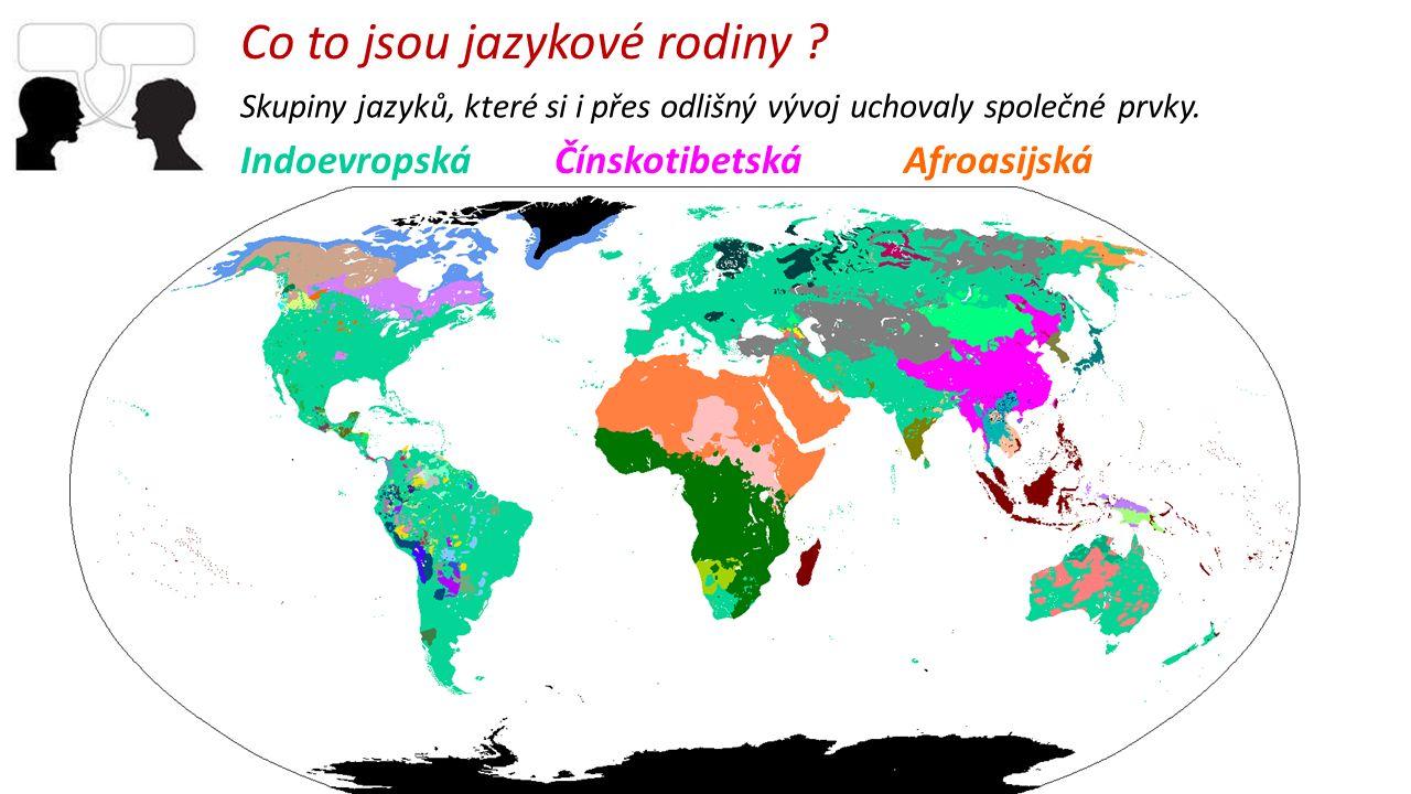 Skupiny jazyků, které si i přes odlišný vývoj uchovaly společné prvky. Co to jsou jazykové rodiny ? Indoevropská Čínskotibetská Afroasijská