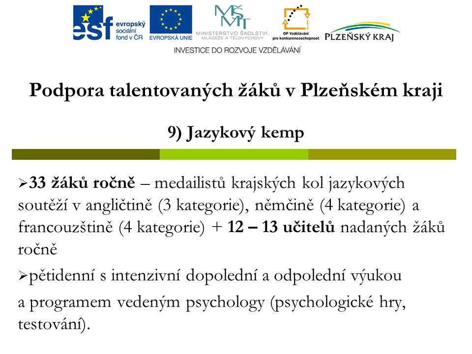 Podpora talentovaných žáků v Plzeňském kraji 9) Jazykový kemp  33 žáků ročně – medailistů krajských kol jazykových soutěží v angličtině (3 kategorie), němčině (4 kategorie) a francouzštině (4 kategorie) + 12 – 13 učitelů nadaných žáků ročně  pětidenní s intenzivní dopolední a odpolední výukou a programem vedeným psychology (psychologické hry, testování).