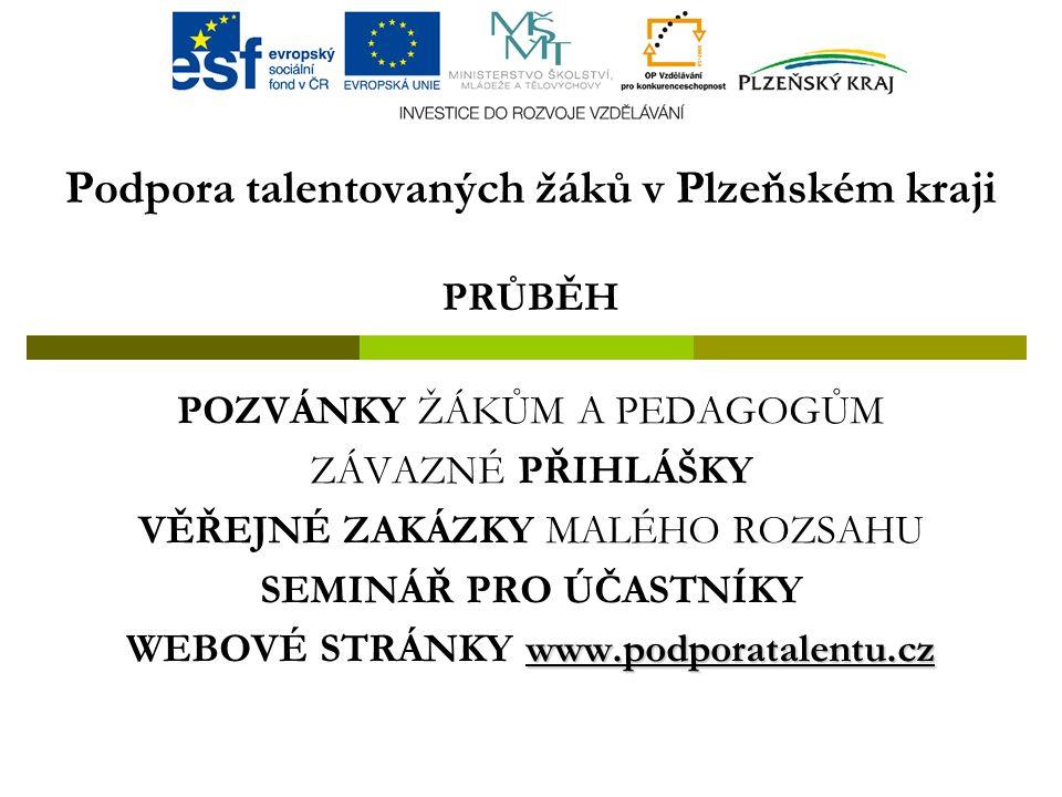 Podpora talentovaných žáků v Plzeňském kraji PRŮBĚH POZVÁNKY ŽÁKŮM A PEDAGOGŮM ZÁVAZNÉ PŘIHLÁŠKY VĚŘEJNÉ ZAKÁZKY MALÉHO ROZSAHU SEMINÁŘ PRO ÚČASTNÍKY www.podporatalentu.cz WEBOVÉ STRÁNKY www.podporatalentu.cz