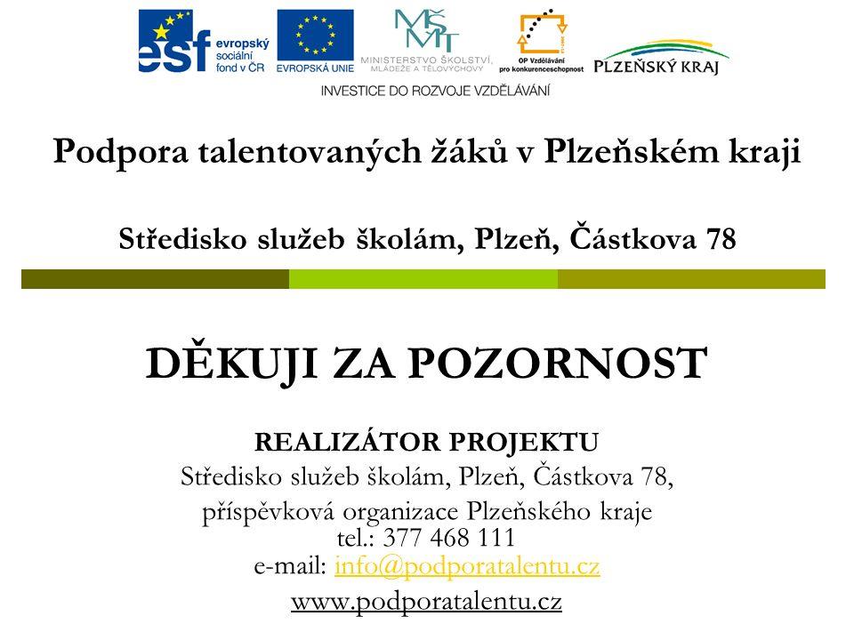 Podpora talentovaných žáků v Plzeňském kraji Středisko služeb školám, Plzeň, Částkova 78 DĚKUJI ZA POZORNOST REALIZÁTOR PROJEKTU Středisko služeb školám, Plzeň, Částkova 78, příspěvková organizace Plzeňského kraje tel.: 377 468 111 e-mail: info@podporatalentu.czinfo@podporatalentu.cz www.podporatalentu.cz