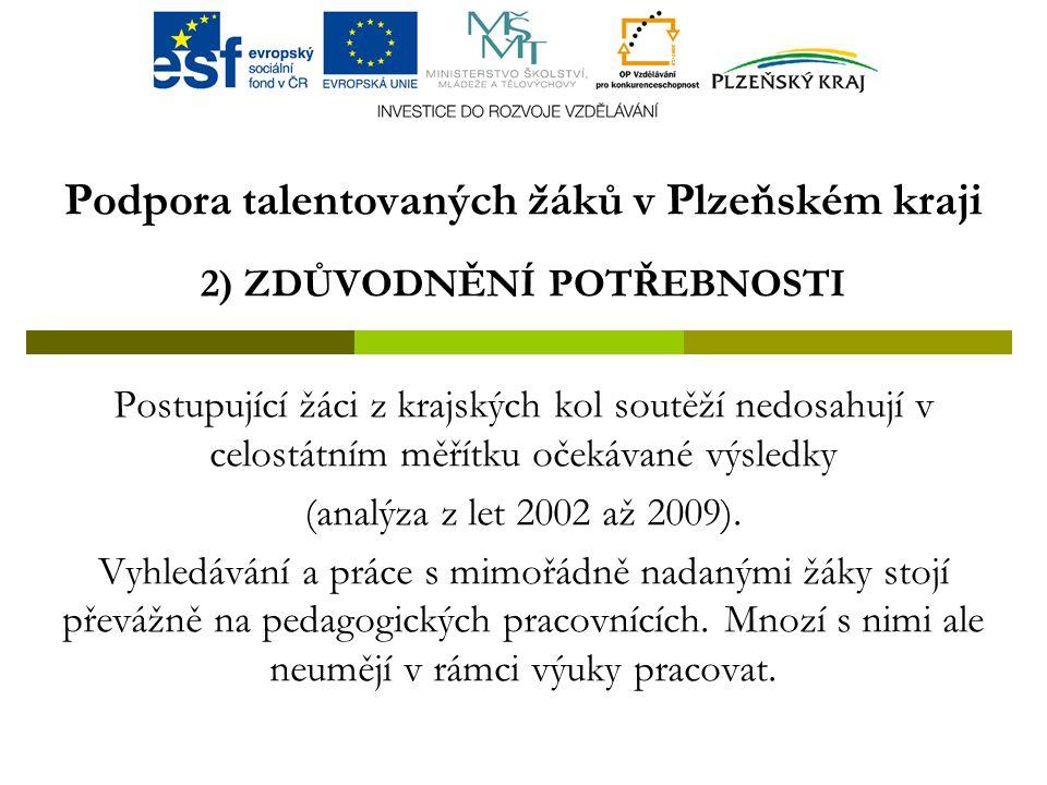 Podpora talentovaných žáků v Plzeňském kraji 2) ZDŮVODNĚNÍ POTŘEBNOSTI Postupující žáci z krajských kol soutěží nedosahují v celostátním měřítku očekávané výsledky (analýza z let 2002 až 2009).
