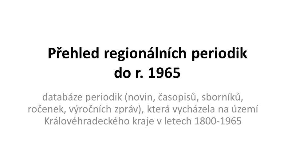 Přehled regionálních periodik do r.