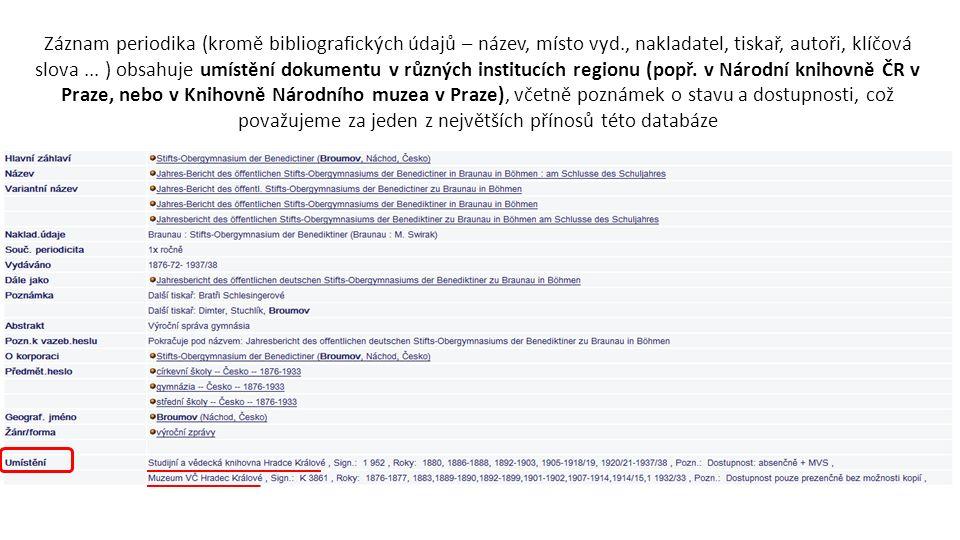 Záznam periodika (kromě bibliografických údajů – název, místo vyd., nakladatel, tiskař, autoři, klíčová slova...