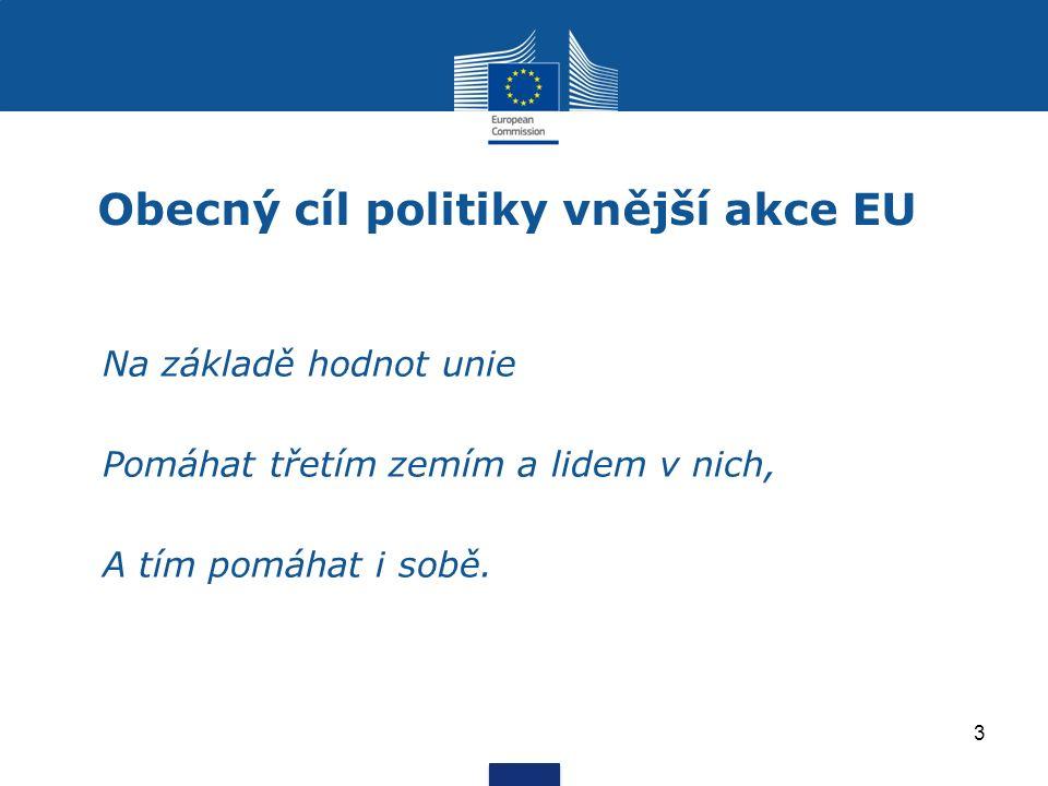 Obecný cíl politiky vnější akce EU Na základě hodnot unie Pomáhat třetím zemím a lidem v nich, A tím pomáhat i sobě.