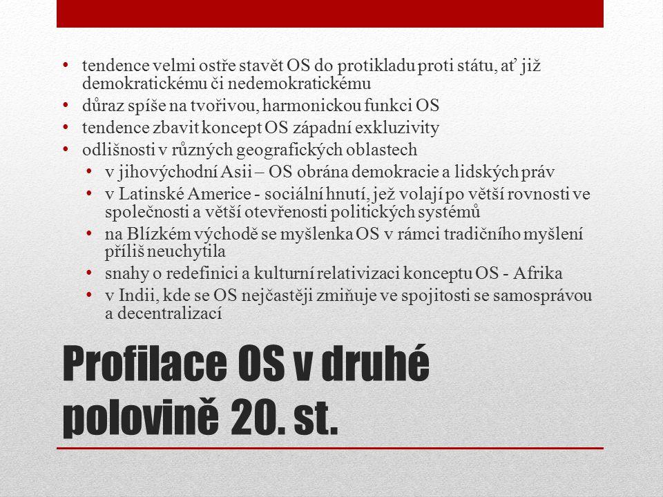 Profilace OS v druhé polovině 20. st.