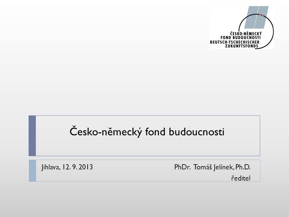 Česko-německý fond budoucnosti Jihlava, 12. 9. 2013PhDr. Tomáš Jelínek, Ph.D. ředitel