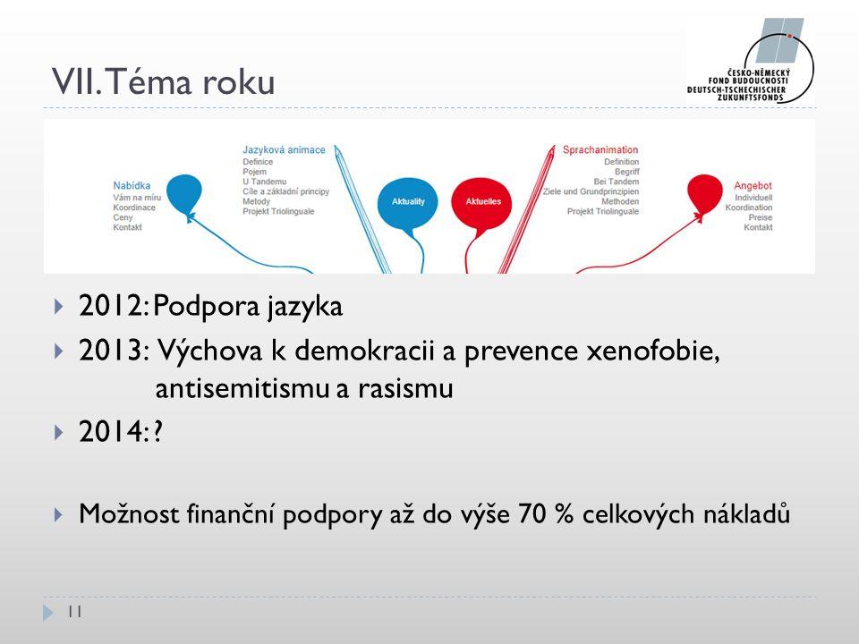 VII. Téma roku 11  2012: Podpora jazyka  2013: Výchova k demokracii a prevence xenofobie, antisemitismu a rasismu  2014: ?  Možnost finanční podpo
