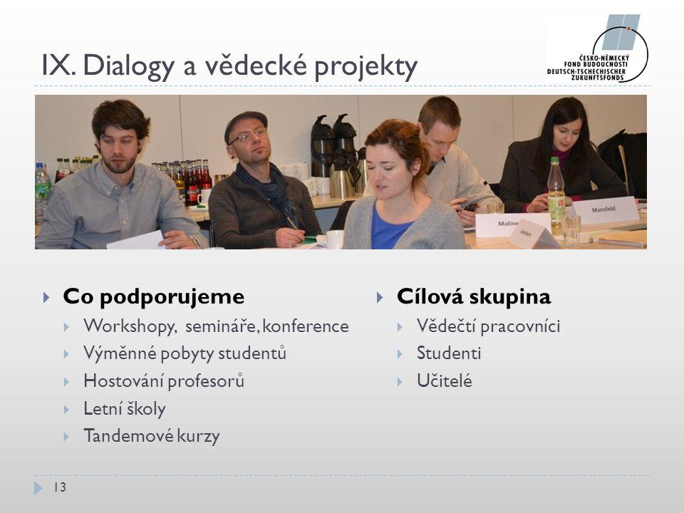 IX. Dialogy a vědecké projekty  Co podporujeme  Workshopy, semináře, konference  Výměnné pobyty studentů  Hostování profesorů  Letní školy  Tand