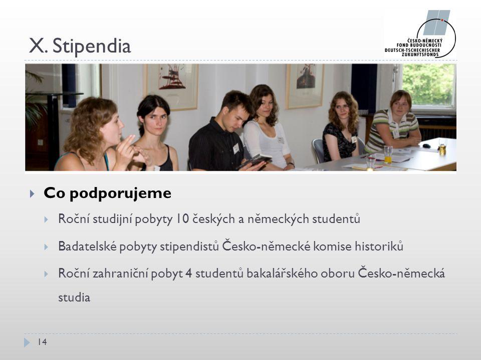 X. Stipendia 14  Co podporujeme  Roční studijní pobyty 10 českých a německých studentů  Badatelské pobyty stipendistů Česko-německé komise historik