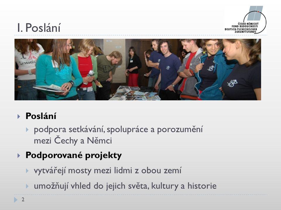 I. Poslání 2  Poslání  podpora setkávání, spolupráce a porozumění mezi Čechy a Němci  Podporované projekty  vytvářejí mosty mezi lidmi z obou zemí