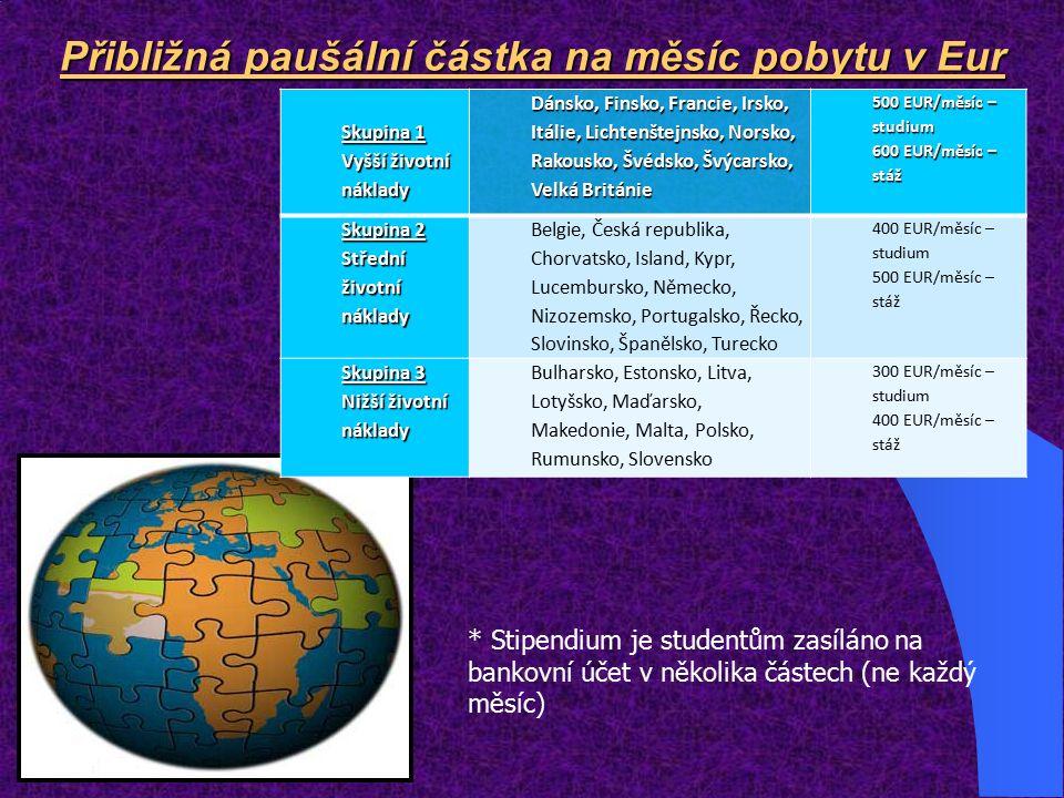 Přibližná paušální částka na měsíc pobytu v Eur * Stipendium je studentům zasíláno na bankovní účet v několika částech (ne každý měsíc) Skupina 1 Vyšší životní náklady Dánsko, Finsko, Francie, Irsko, Itálie, Lichtenštejnsko, Norsko, Rakousko, Švédsko, Švýcarsko, Velká Británie 500 EUR/měsíc – studium 600 EUR/měsíc – stáž Skupina 2 Střední životní náklady Belgie, Česká republika, Chorvatsko, Island, Kypr, Lucembursko, Německo, Nizozemsko, Portugalsko, Řecko, Slovinsko, Španělsko, Turecko 400 EUR/měsíc – studium 500 EUR/měsíc – stáž Skupina 3 Nižší životní náklady Bulharsko, Estonsko, Litva, Lotyšsko, Maďarsko, Makedonie, Malta, Polsko, Rumunsko, Slovensko 300 EUR/měsíc – studium 400 EUR/měsíc – stáž