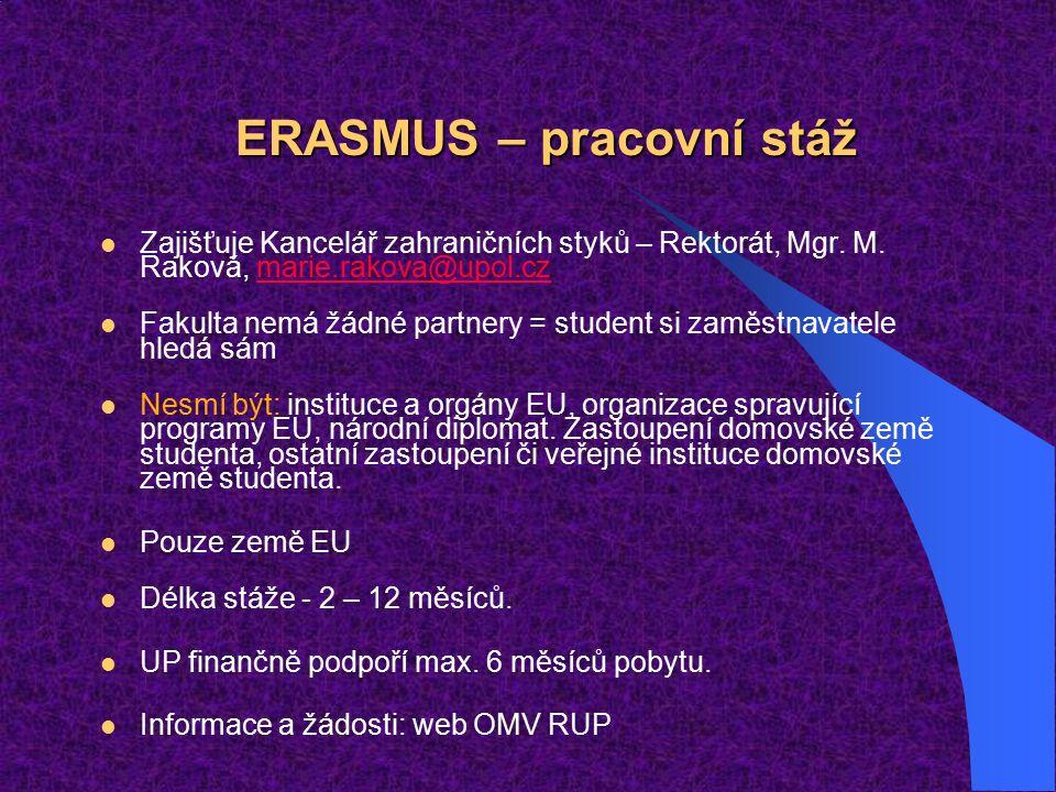 ERASMUS – pracovní stáž Zajišťuje Kancelář zahraničních styků – Rektorát, Mgr.