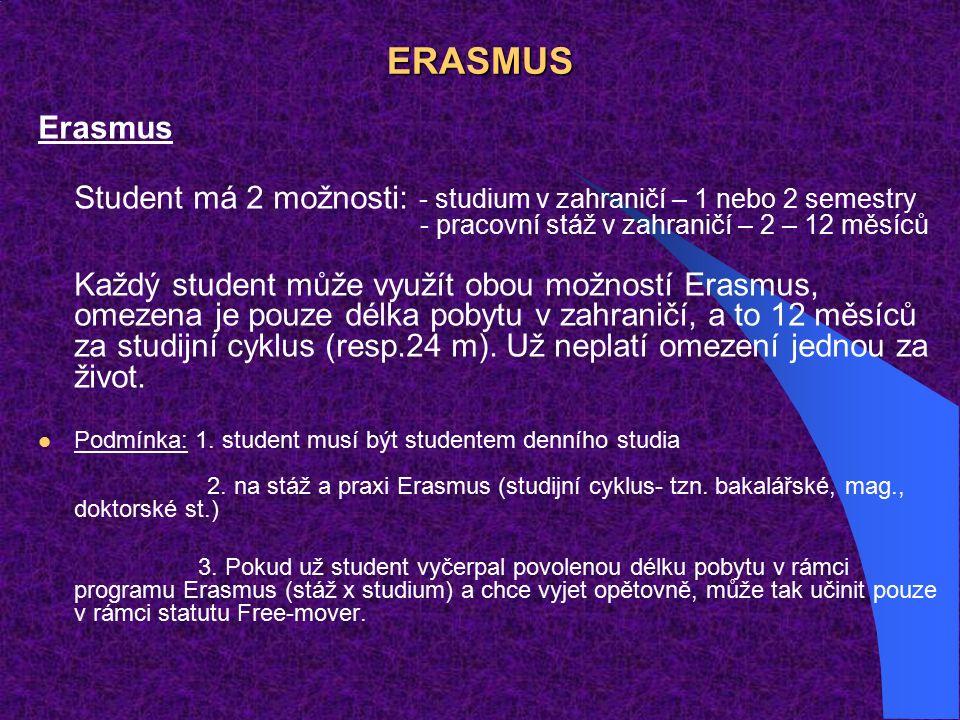 ERASMUS Erasmus Student má 2 možnosti: - studium v zahraničí – 1 nebo 2 semestry - pracovní stáž v zahraničí – 2 – 12 měsíců Každý student může využít obou možností Erasmus, omezena je pouze délka pobytu v zahraničí, a to 12 měsíců za studijní cyklus (resp.24 m).