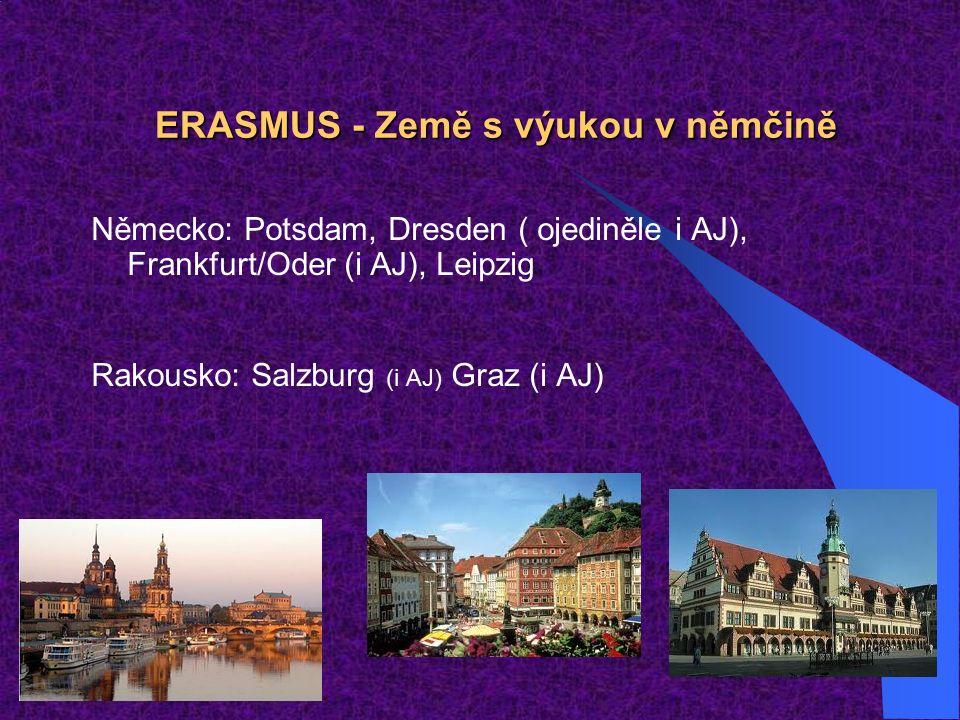 ERASMUS - Země s výukou v němčině Německo: Potsdam, Dresden ( ojediněle i AJ), Frankfurt/Oder (i AJ), Leipzig Rakousko: Salzburg (i AJ) Graz (i AJ)
