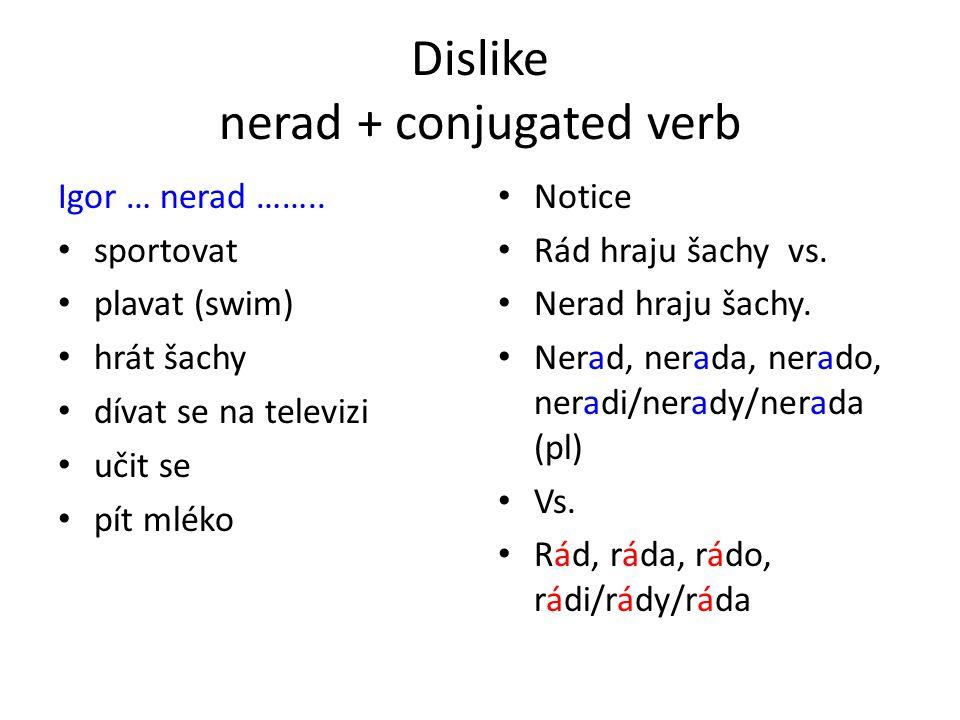 Dislike nerad + conjugated verb Igor … nerad ……..